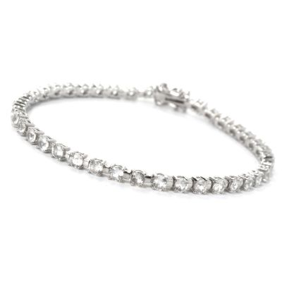"132-205 - Gem Treasures Sterling Silver 8"" 5.88ctw White Zircon Tennis Bracelet"