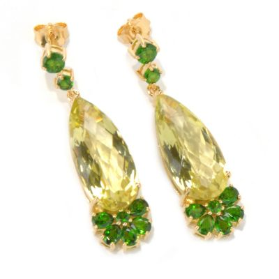 "132-210 - NYC II 1.5"" Elongated Pear Shaped Gemstone Drop Earrings"
