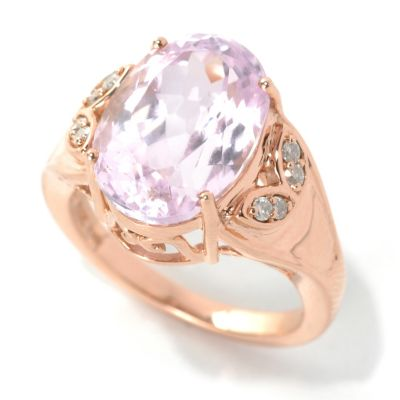 132-214 - Gem Treasures 14K Rose Gold 6.69ctw Oval Kunzite & Diamond Ring