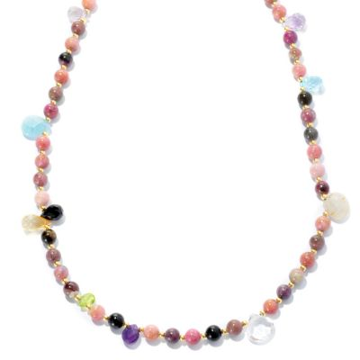 "132-224 - Gems of Distinction 56"" Multi Color Tourmaline & Gemstone Beaded Station Necklace"