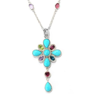 132-237 - Gem Insider Sterling Silver Sleeping Beauty Turquoise & Gem Enhancer w/ Chain