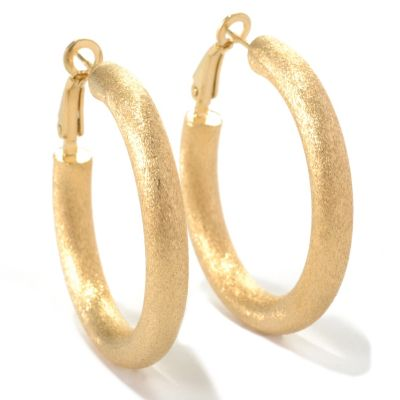 "132-260 - Portofino Gold Embraced™ 1.5"" Double Textured Hoop Earrings"