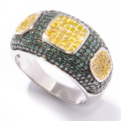 "132-307 - ""As Is"" Diamond Treasures Sterling Silver 1.00ctw Blue & Yellow Diamond Ring - Size 8"