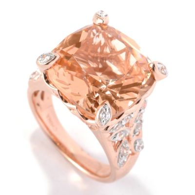 132-315 - Brilliante® 8.36 DEW Rose Gold Embraced™ Cushion Cut Simulated Morganite Ring