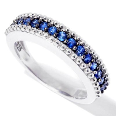 "132-351 - ""As Is"" Gem Treasures Sterling Silver ""Fancy Colors of Sapphire"" Band Ring"