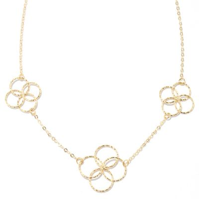 "132-371 - Italian Designs with Stefano 14K Gold 18"" ""Fiori Collier"" Station Necklace"