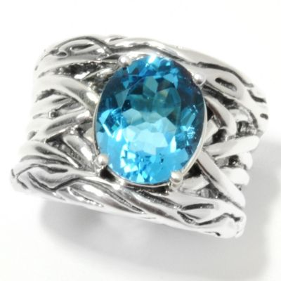 132-390 - Sterling Artistry by EFFY 5.54ctw Blue Topaz Vine Ring