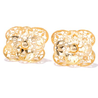 132-393 - Italian Designs with Stefano 14K Gold Ricami Filigree Flower Earrings