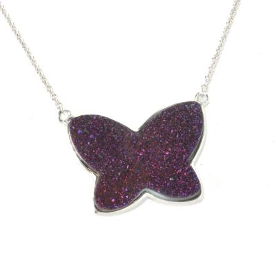 "132-423 - Gem Insider Sterling Silver 18"" 24 x 18mm Purple Drusy Butterfly Necklace"