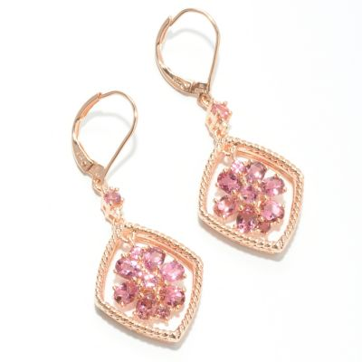 "132-431 - NYC II 1.5"" 2.32ctw Pink Tourmaline & White Zircon Flower Drop Earrings"