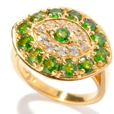 "132-441 - NYC II 2.19ctw Chrome Diopside & White Zircon ""Evil Eye"" Ring"