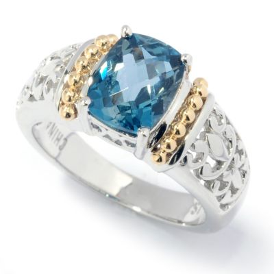 132-443 - Gem Insider Sterling Silver 2.25ctw London Blue Topaz Scrollwork Ring