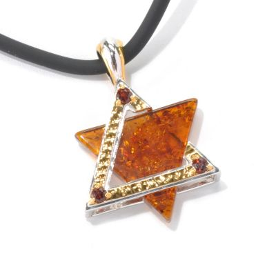 "132-462 - Men's en Vogue II 25mm Baltic Amber & Garnet Star of David Pendant w/ 22"" Rubber Cord"