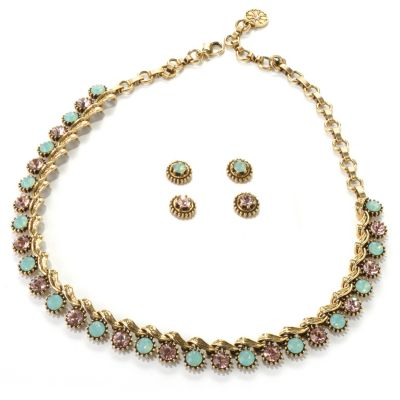 "132-465 - Sweet Romance™ 16"" Crystal Collar Necklace & Two Stud Earrings Set"