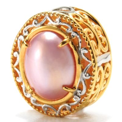 132-614 - Gems en Vogue II 10 x 8mm Pink Mabe Cultured Pearl Double-Sided Slide-on Charm