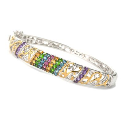 132-621 - Gems en Vogue II Multi Gemstone Diagonal Row Hinged Bangle Bracelet