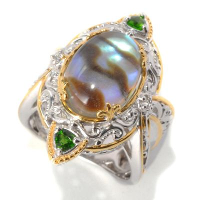 132-630 - Gems en Vogue II 14 x 10mm Abalone, Chrome Diopside Trillion & White Sapphire Ring