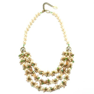 "132-654 - Sara Nicole 26"" Simulated Pearl, Rutilated Quartz, Crystal & Glass Bead Necklace w/ Extender"