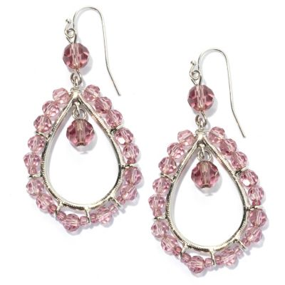 "132-664 - Sara Nicole 2.25"" Crystal Open Teardrop Bead Earrings"