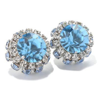132-665 - Sara Nicole 10.5mm Crystal Double Halo Button Earrings