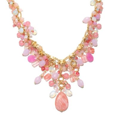 "132-666 - Sara Nicole 17"" Shades of Pink Crystal & Glass Twisted Oval Link Drop Necklace"