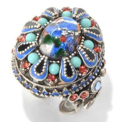 132-671 - Sweet Romance™ Glass Bead & Crystal Fortune Teller Ring