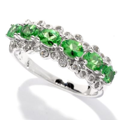 132-674 - NYC II 1.22ctw Tsavorite & White Zircon Scattered Band Ring