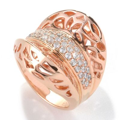 132-689 - Bergio Rose Gold Embraced™ Simulated Diamond Shield Ring