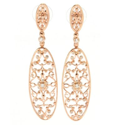 "132-697 - Bergio Byzantine Collection Rose Gold Embraced™ Simulated Diamond 2.75"" Earrings"