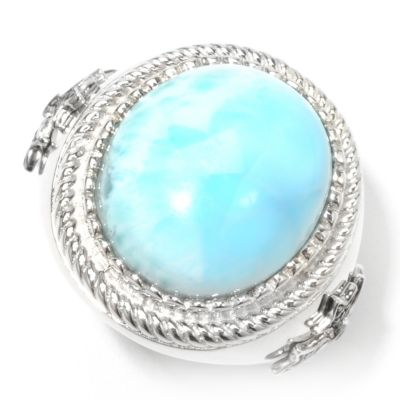 132-720 - Gem Insider Sterling Silver 18 x 15mm Oval Larimar & Spinel Beaded Halo Ring