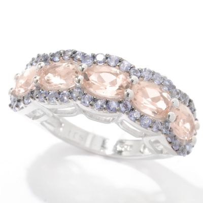 132-727 - Gem Insider Sterling Silver 2.81ctw Morganite & Tanzanite East-West Ring