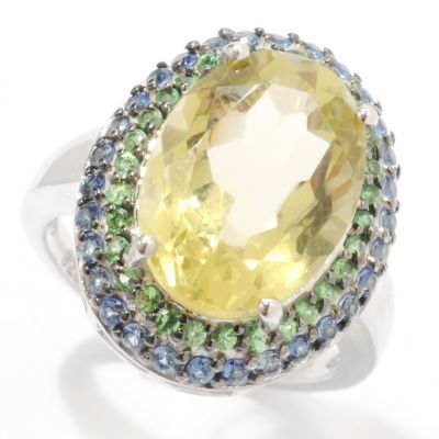 132-729 - Gem Insider Sterling Silver 5.94ctw Oval Lemon Quartz, Tsavorite & Sapphire Ring