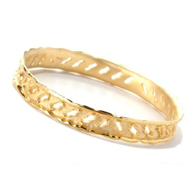 "132-755 - Toscana Italiana Gold Embraced™ 8"" Textured Rip Cut-out Bangle Bracelet"