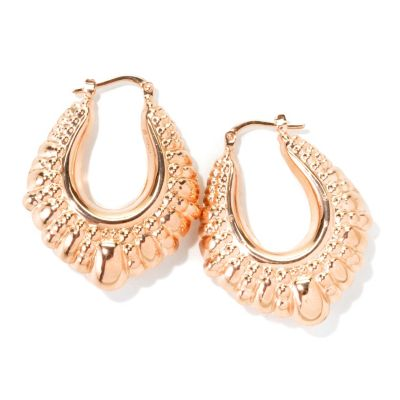 "132-763 - Toscana Italiana Gold Embraced™ 1.25"" High Polished Etruscan Oval Hoop Earrings"