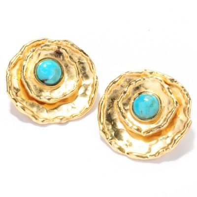 132-765 - Toscana Italiana Gold Embraced™ Turquoise Hammered Earrings