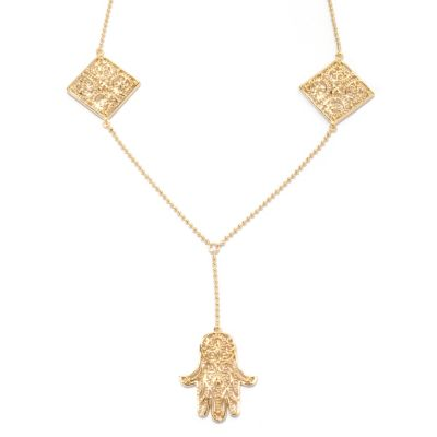 "132-783 - Jaipur Bazaar Gold Embraced™ 17"" Y-Drop Hamsa Necklace w/ 2"" Extender"
