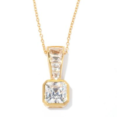 132-813 - TYCOON 3.94 DEW Royal Tycoon Cut Simulated Diamond Pendant w/ Chain