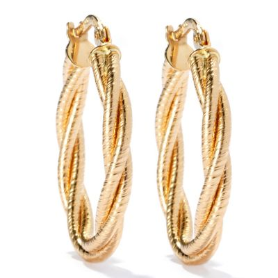 "132-848 - Viale18K® Italian Gold 1"" Textured & Twist Design Oval Hoop Earrings"