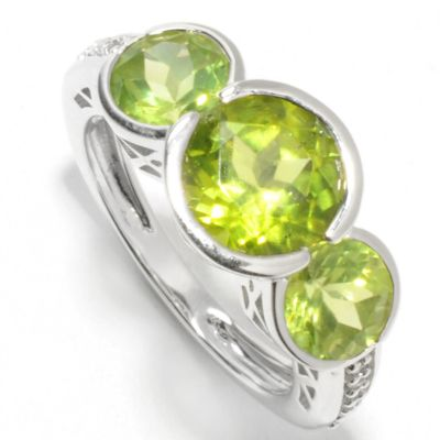 132-863 - Gem Insider Sterling Silver 3.98ctw Peridot & White Topaz Cut-out Ring