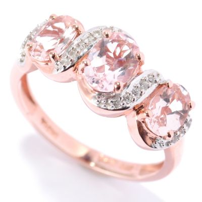 132-886 - NYC II 2.36ctw Morganite & White Zircon Ribbon Band Ring