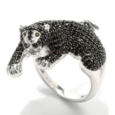 132-930 - Gem Treasures Sterling Silver 1.82ctw Spinel & Chrome Diopside Panther Ring