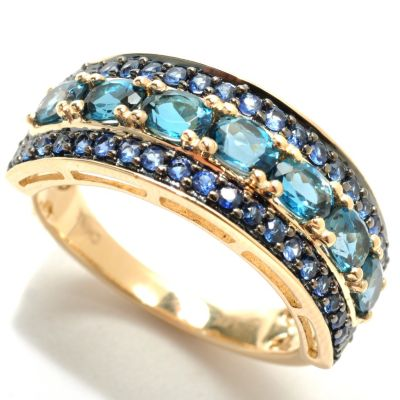 132-934 - 14K LONDON BLUE TOPAZ W/ BLUE SAPPHIRE RING