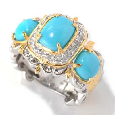 132-990 - Gems en Vogue II Sleeping Beauty Turquoise & Sapphire Three-Stone Ring