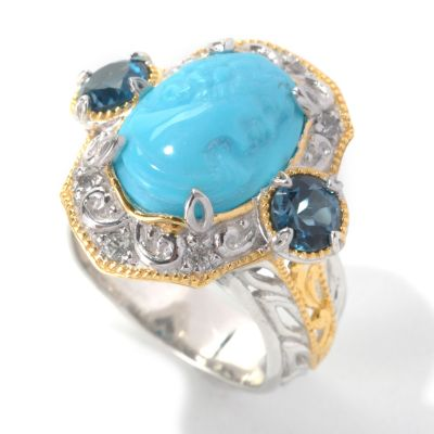 132-993 - Gems en Vogue II Hand-Carved Sleeping Beauty Turquoise Portrait Cameo & Gem Ring
