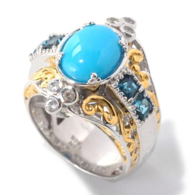 132-996 - Gems en Vogue II 10 x 8mm Oval Sleeping Beauty Turquoise & Princess Cut Gem Ring