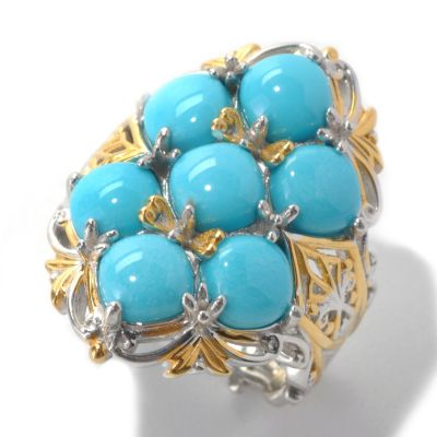 132-997 - Gems en Vogue II 6mm Cushion Shaped Sleeping Beauty Turquoise Seven-Stone Ring