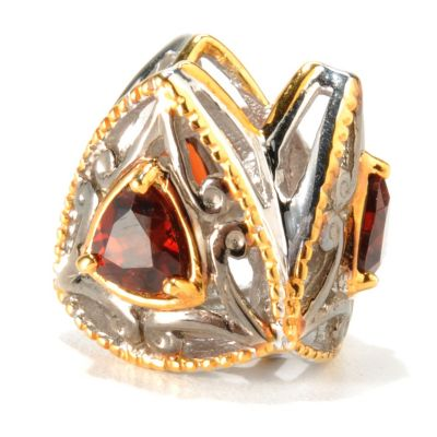 133-000 - Gems en Vogue II Two-tone Trillion Cut Garnet Slide-on Charm
