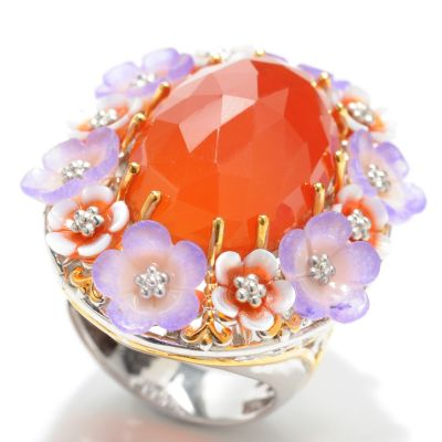 133-007 - Gems en Vogue II 22 x 14mm Oval Carnelian & Multi Gemstone Flower Ring