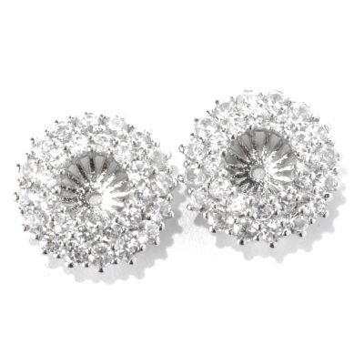 133-019 - Gem Treasures Sterling Silver 2.75ctw White Zircon Double Row Earring Jackets