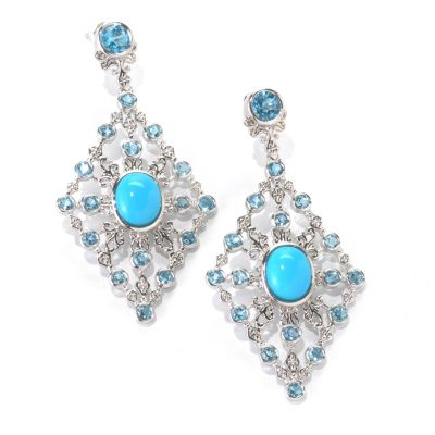 "133-045 - Gem Insider Sterling Silver 2.5"" Sleeping Beauty Turquoise & Topaz Earrings"